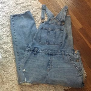 Wild Fable distressed denim overalls